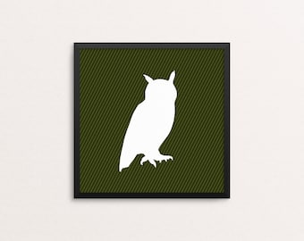 Owl Woodland Creature Silhouette, square 10x10 Art Decor Digital Print
