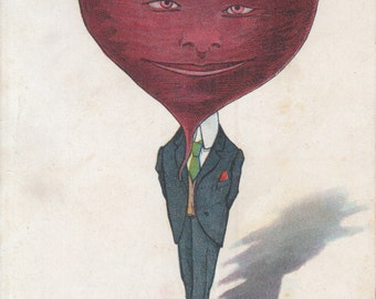 Vintage Greeting Postcard - It Does Beet All How Much I think of You Anthropomorphic Beet Vegetable