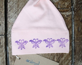 Soft, pure cotton baby hat with butterflies