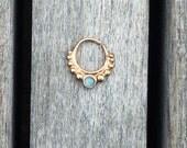 Blue Gem Rose Gold 16G Septum Ring