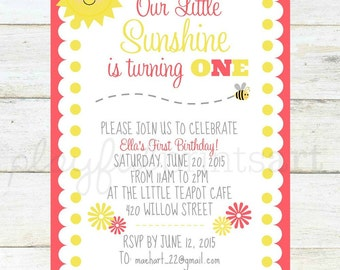You Are My Sunshine Invitation, Printable, Digital Download