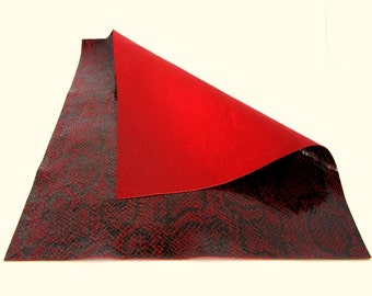 Red Snakeskin Printed Leather / Red Leather