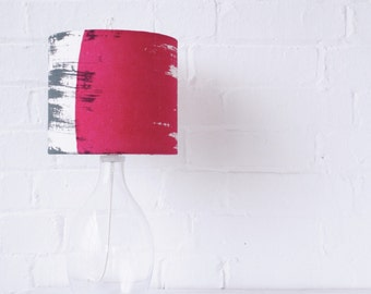 Lampshade: bright bold drum lamp shade in magenta pink and grey // Screen printed handmade lampshade in natural linen fabric