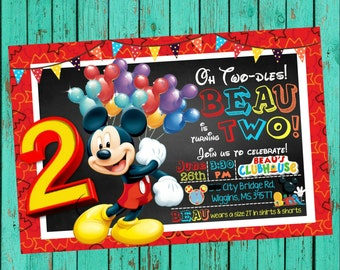 Mickey Mouse Invitation, Mickey Mouse Second Birthday, Mickey Mouse 2nd Birthday, Mickey Mouse Clubhouse Invite, Mickey Mouse Birthday