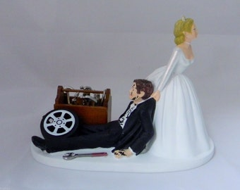 Wedding Reception Party Ceremony Grease Shop Car & Truck Mechanic Tools Cake Topper