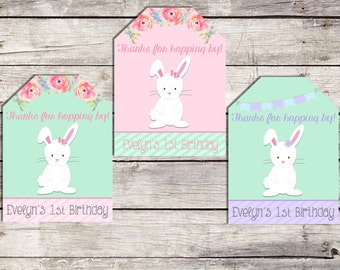 Bunny Favor Tags, Some Bunny, Birthday Thank You Tags, Flowers, Floral Favor Tags, Printable Tags, First Birthday Tags, Tags for Goodie Bags