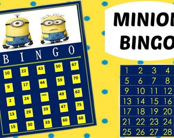 Minion Bingo Game with 15 unique Bingo cards and 75 medium calling cards - Printable, INSTANT DOWNLOAD