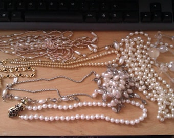 collection of white bead necklaces & 1 bracelet