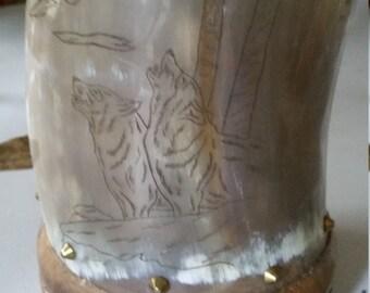 Handmade Wood/Antler/Horn Drinkin Mug (Howling Wolves)