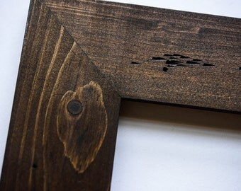 Eco Friendly 16x20 dark brown picture frame walnut stain distress and rustic picture frames