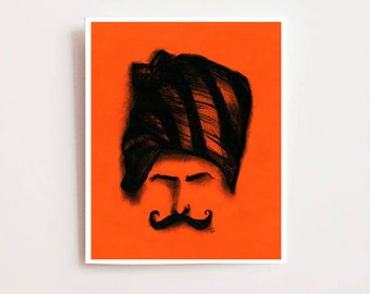 Trendy wall art print, Man with turban - Fine art Giclee print, charcoal drawing, charcoal sketch, Indian art, mustache, wall art, orange