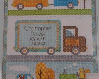 Boy Birth Announcement Counted Cross Stitch Kit Baby Birth Record Dimensions Happi Transport Dena Designs 70-73561 Truck Car Tractor Decor