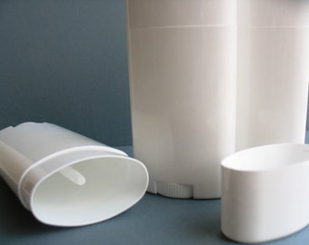 2.5 oz. Deodorant Tube Containers - White Roll up Tube - Twist up containers - Body Balm - Solid White Oval - Plastic Oval Tubes