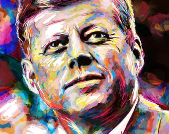 John F Kennedy Art Print, JFK Artwork, President painting