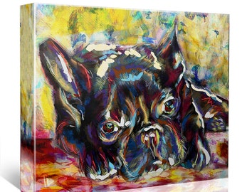 French Bulldog Art, Frenchie Canvas, Frenchie painting, Dog Painting, Pet Art
