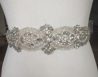 Bridal Sash, Bridal Belt, Wedding Sash, Beaded Belt, Crystal Sash, Rhinestone Belt, Wedding Dress Sash, Wedding Dress Belt