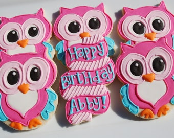 Owl Cookies and custom Birthday banner