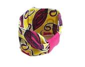 Bracelet rose et jaune, Bracelet wax, bracelet noeud, bracelet tissu, bracelet tissu africain, bracelet manchette, bracelet ethnique,