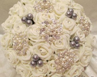 Wedding flowers Wedding bouquet Brides bouquet Ivory roses diamantes crystsl pearls posy