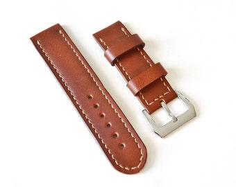 brown leather panerai watch strap watch band Vegetable tanned leather watch strap 18 mm 20 mm watch band 22 mm 24 mm watch strap