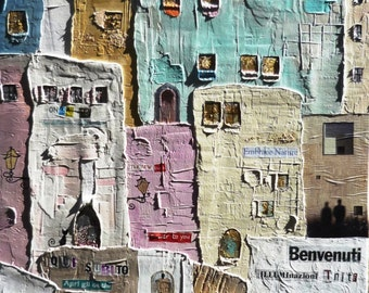 "ATTENZIONE Original Mixed Media ""Dreamlike Cities"" Painting"