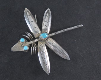 Designer Native American Sterling Silver with Turquoise Dragonfly Brooch