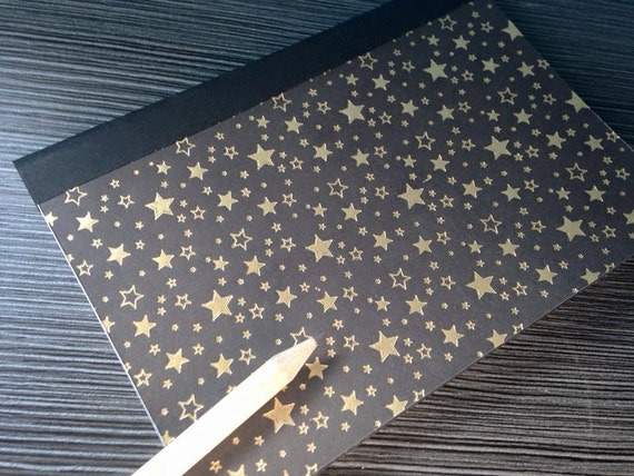 Black and Gold Star Burst A6 Hand Sewn Notebook Journal