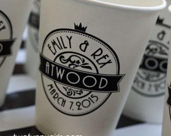 Custom 8 oz Paper Coffee Cups for Wedding NO LIDS