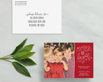 merry & bright holiday card // personalized photo card // christmas card // hand lettering // custom holiday card // PRINTED holiday card