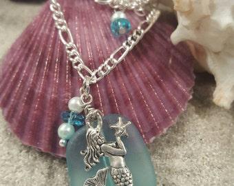 Mermaid charm on seaglass pendant necklace