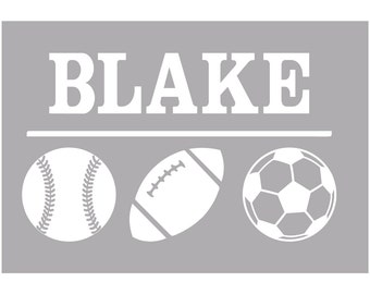 Personalized Multi-Sport Car Decal  - Laptop Decal  - Baseball Decal  - Football Decal  - Basketball Decal  - Soccer Decal  - Volleyball Dec