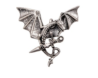 Sterling Silver Vintage Pendant, Gothic Style Flying dragon
