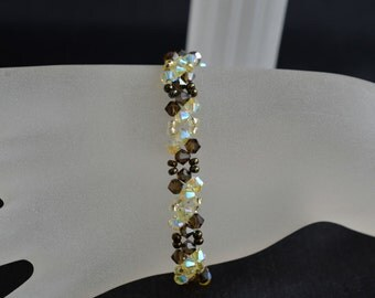 Swarovski crystal bracelet smoky quartz end satin and daffodil ab2x