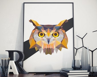 Triangle Owl Poster - Polygonal Owl Poster - Animal Print - Minimalist Owl Print - Triangle Animal Poster