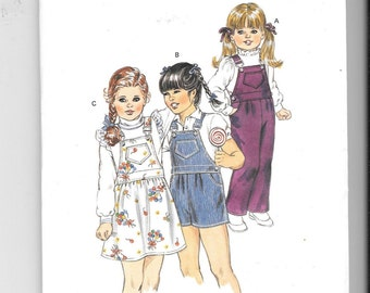 VTG 1984 Girls Overalls Shorts & Skirt Kwik Sew Sewing Pattern 1408 Sz 4 to 7 New