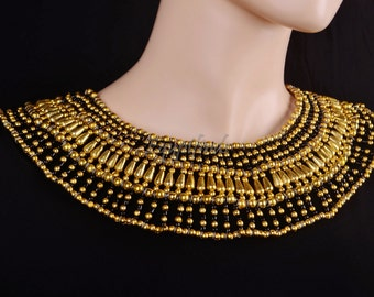 Elegant Egyptian Black & Gold Cleopatra Necklace