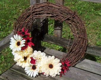 Grapevine Wreath, 14-inch.  Ivory and Red (Rust Color) Silk Flowers.  Wall decor, door wreath.