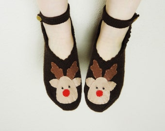 Deer Slipper, Christmas Slipper, Womens Slipper, Gift For Women, Knit House Shoes, Christmas Socks, Knitted Wool Slippers, House Slippers