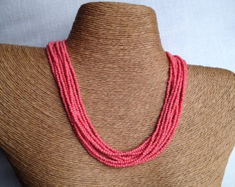 Coral beaded necklace, coral necklace, coral multi-strand necklace, coral bridesmaids, guava necklace, guava bridesmaids, salmon necklace