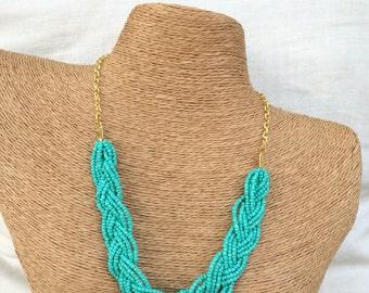 Braided aqua necklace, bridesmaids necklace, turquoise necklace, aqua necklace, aqua bridesmaids, beach bridesmaids, aqua bib necklace, blue