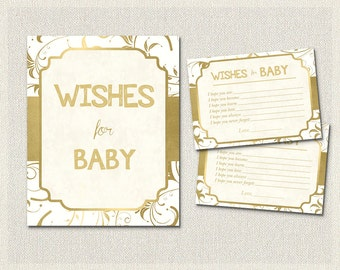 Wishes for Baby Gold and White Baby Shower Activities | Gold White  | Baby Wish Cards |  Gender Neutral Baby Shower BS-80