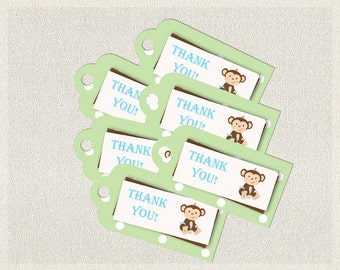 Printable Monkey Favor Thank You Tags Blue Green Polka Dots |  Favors Tags  Baby Shower Boy BS-131