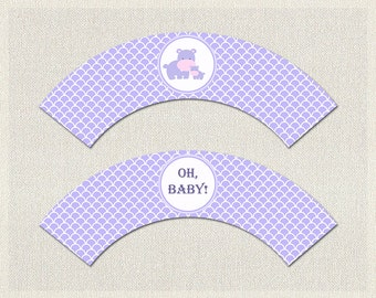 Cupcake Wrappers Purple Lilac Hippo Baby Shower Printable Cupcake Wrappers Girl BS-152