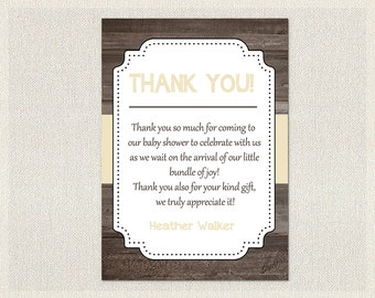 Baby Shower Thank You Card Boys Girls Gender Neutral Rustic Wood Cream Shower Gender Neutral Print Yourself Thank You DIY Baby BS-2021