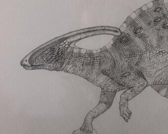 Dinosaur Sketch // Hand Drawn Original Art // Signed Parasaurolophus