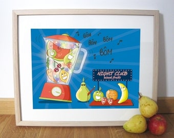 Fruits illustration art print 40 x 30 cm, Wall decoration kitchen