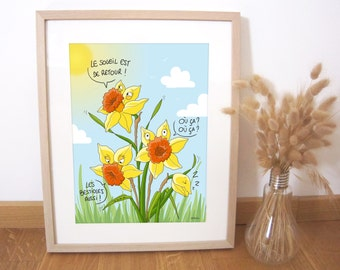 Art print illustration daffodils, springtime 30x40 cm