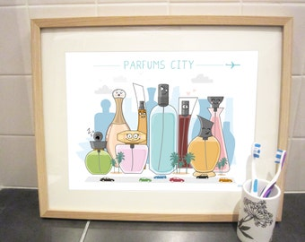 "Art print 40x30 cm ""Perfumes city"""