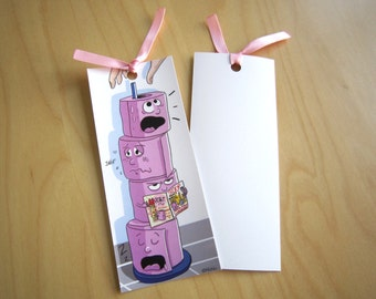 Bookmarks illustrated toilet paper with pink satin ribbon
