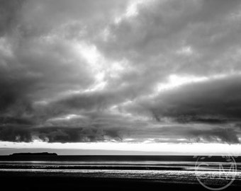 Beach, moody, black and white, sky, sea, island, landscape photography, giclee, fine art, print